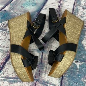 CATHY JEAN Black Weave Wedge Ankle Wrap Sandals
